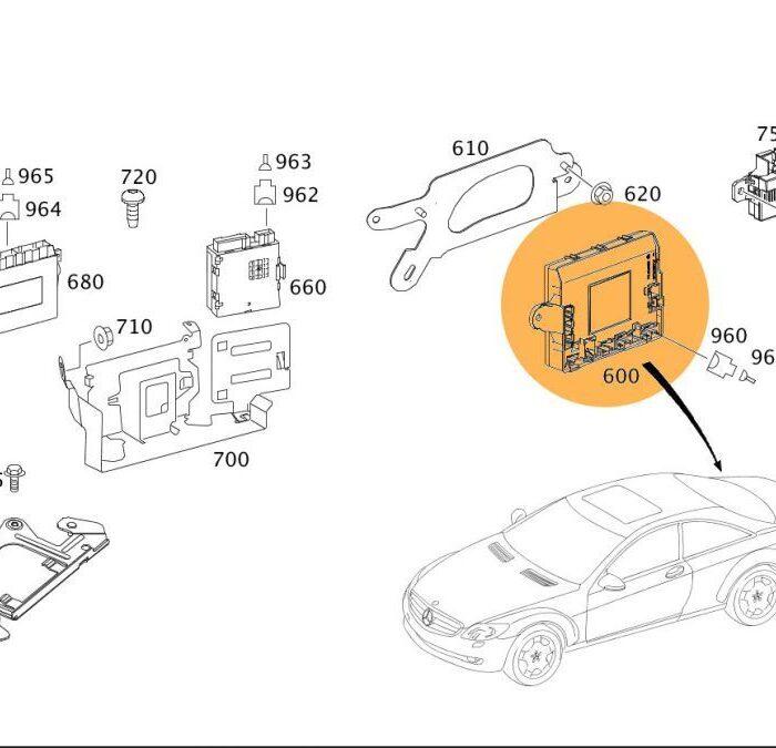 naprawa modułu Mercedes S (W221) CL (C216) A2168707826 A2168702826 A2168209285 A2168208385 A2168209126 A2168206785 – nie działają prawidłowo szyby, rejestruje się błąd: przepełnienie EEPROM, rejestruje się błąd modułu
