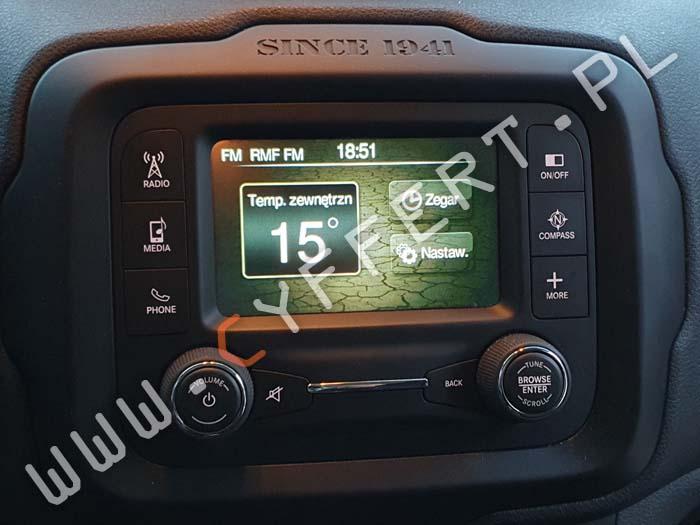 Uconnect 5 – Jeep Renegade – konwersja multimediów z USA na Europę – polskie menu (również w liczniku), zmiana częstotliwości radia.