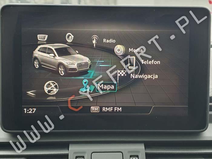 MMI Delphi MIB High Scale 2 Audi – konwersja z USA na Europę, polskie menu, polski lektor, aktualizacja mapy, aktualizacja oprogramowania, aktywacja AndroidAuto, Apple CarPlay, ostrzegania o fotoradarach SpeedCam DB, Video In Motion (TV/DVD w czasie jazdy), widok panoramiczny 3D, usunięcie Component Protection,