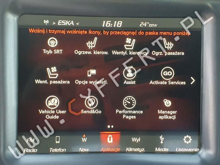 uConnect 8.4 Panasonic Dodge Jeep Chrysler – konwersja z USA na Europę, język polski (również w liczniku), polski lektor, aktualizacja mapy, aktualizacja oprogramowania,