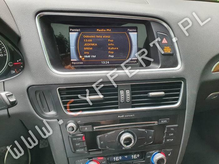 radio Concert Audi – konwersja z USA na EU – język polski (równeż w liczniku), zmiana częstotliwości radia